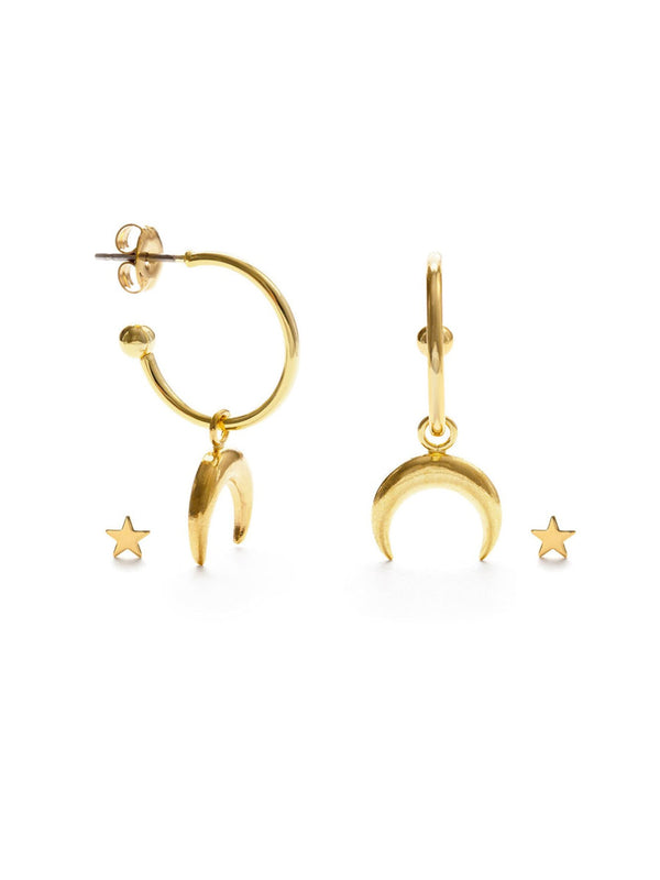 Crescent Moon & Star Post Set | Gold Plated Hoop Earrings | Light Years