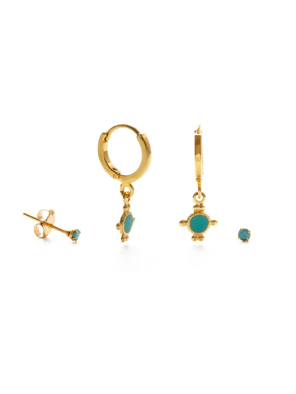 Turquoise Enamel Hoops & Studs Set | Gold Plated Earrings | Light Years