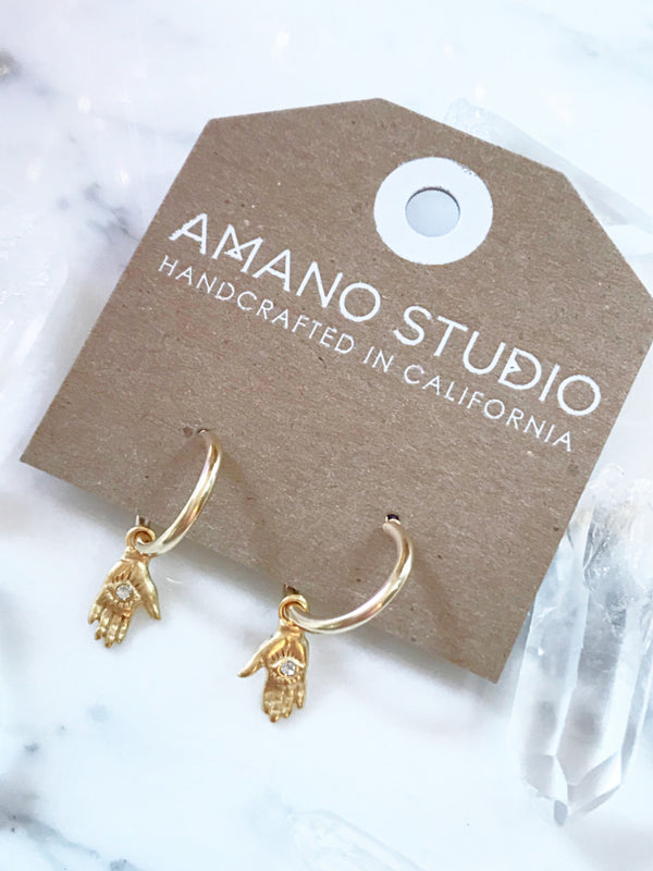 Mystic Hand Hoop Earrings | Gold Plated CZ Hamsa | Light Years Jewelry