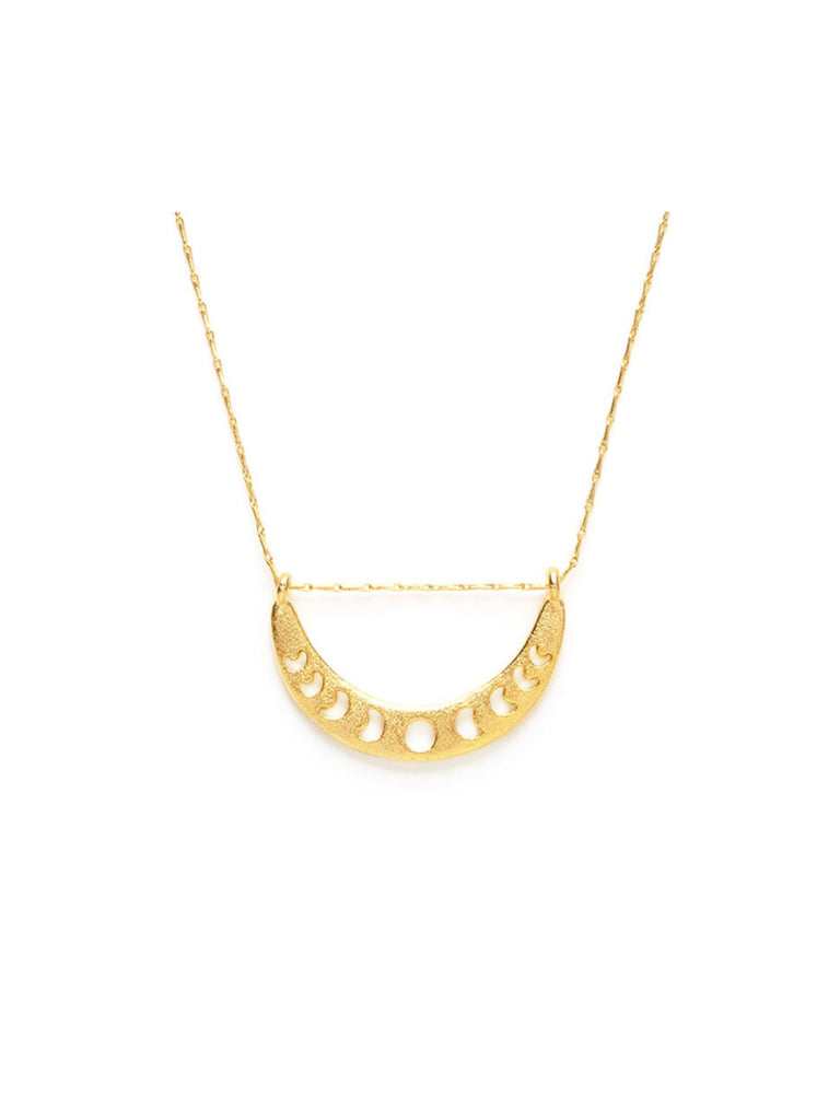 Moon Phase Crescent Necklace | 14kt Gold Plated Chain | Light Years