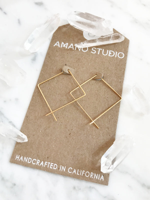 Square Ear Threads | 14kt Gold Vermeil Minimalist Earrings | Light Years