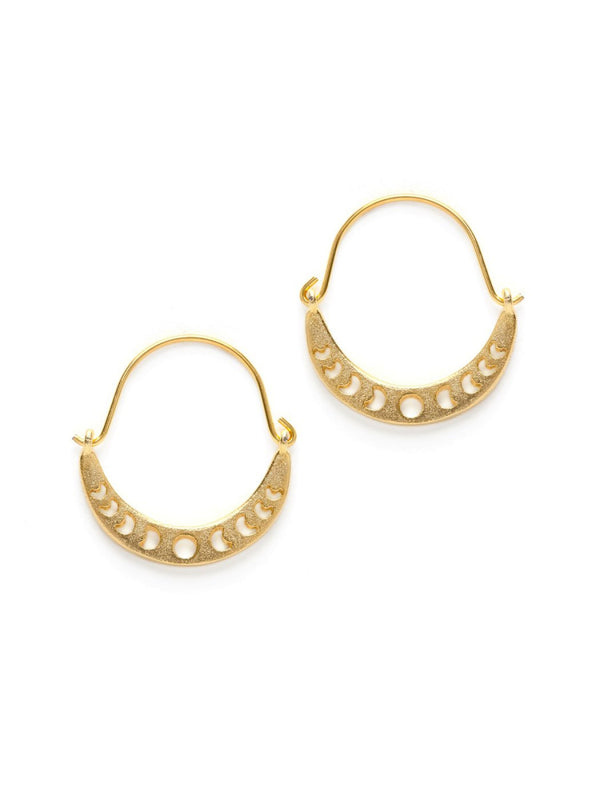 Moon Phase Hoop Earrings | Gold Plated Celestial | Light Years Jewelry