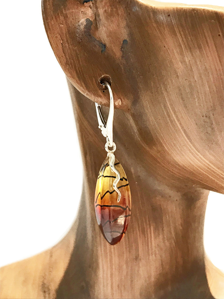 Carved Ombre Amber Dangles | Sterling Silver Earrings | Light Years