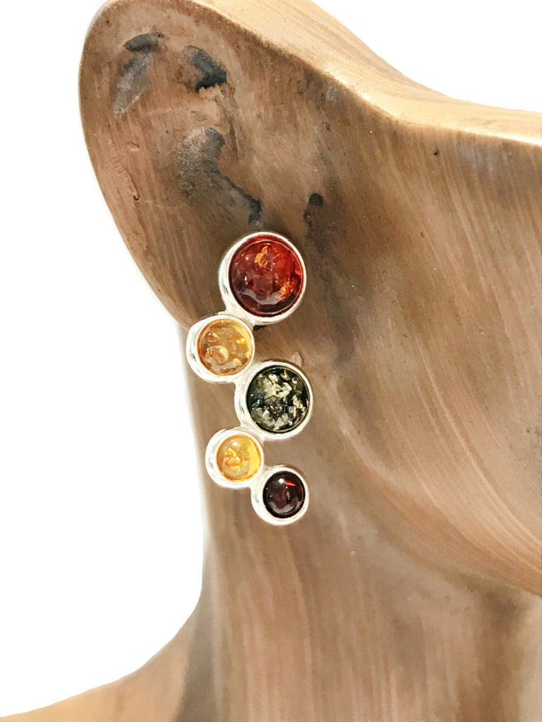 Multi Amber Bubbles Posts | Sterling Silver Studs Earrings | Light Years