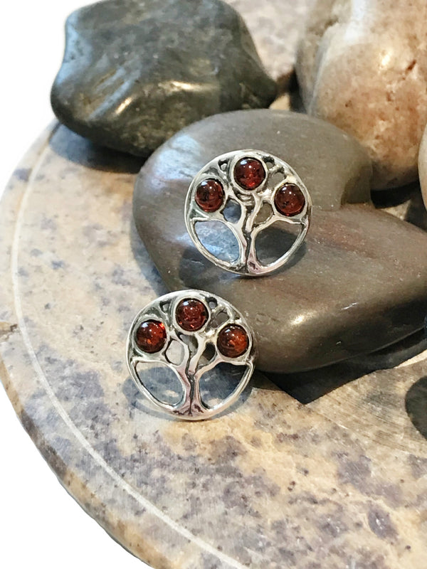 Encircled Amber Tree Posts | Sterling Silver Studs Earrings | Light Years