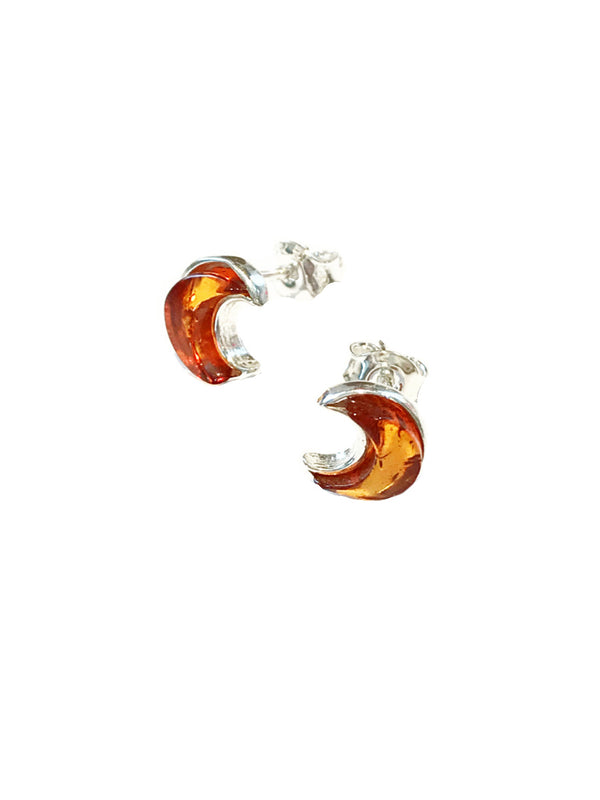Amber Crescent Moon Posts | Sterling Silver Studs Earrings | Light Years
