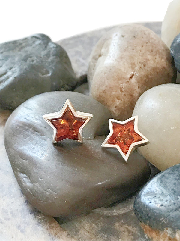 Amber Moon Posts | Sterling Silver Studs Earrings | Light Years Jewelry
