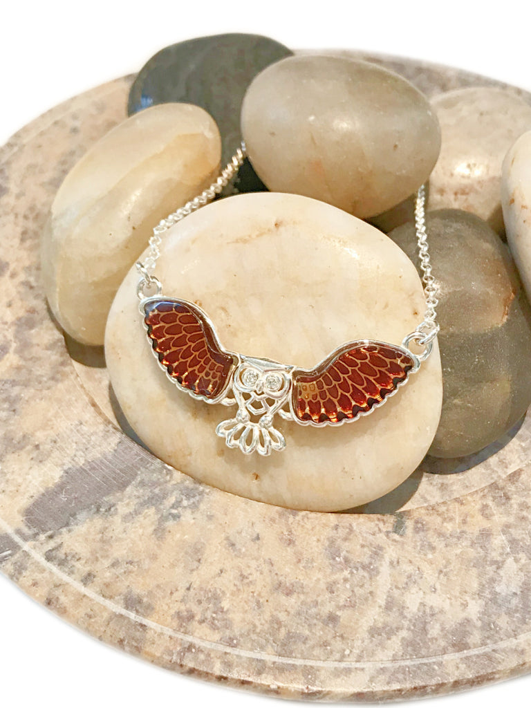 Carved Baltic Amber Owl Necklace | Sterling Silver Chain | Light Years