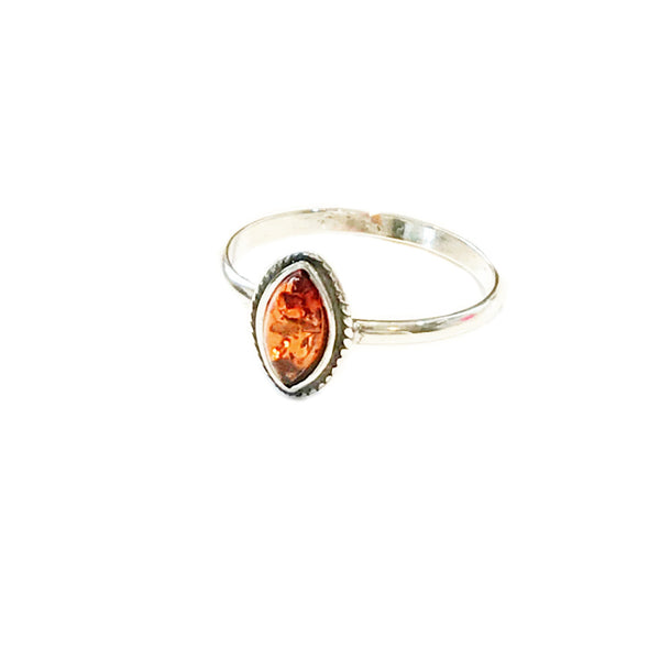 Small Amber Marquis Ring | Size 6 7 8 Sterling Silver | Light Years