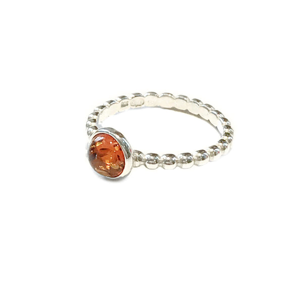 Ball Band Baltic Amber Ring | Size 7 8 Sterling Silver | Light Years