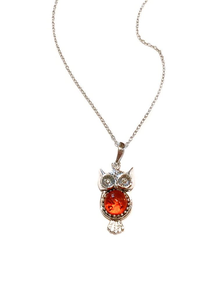 Baltic Amber Owl Necklace | Sterling Silver Chain | Light Years Jewelry