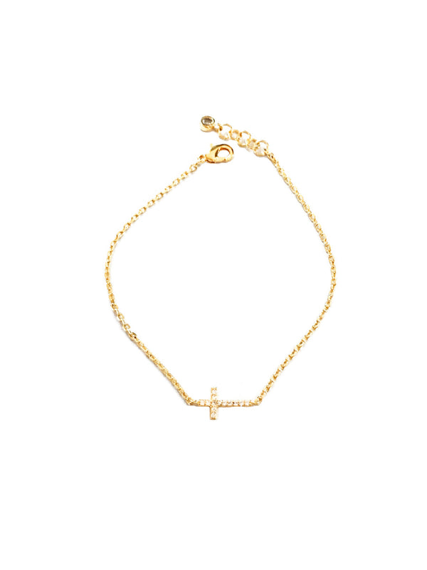 CZ Cross Bracelet | Gold Silver Plated Chain | Light Years Jewelry