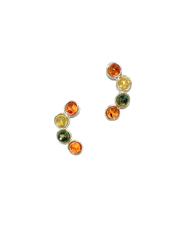 Curved Multi Amber Posts | Sterling Silver Studs Earrings | Light Years