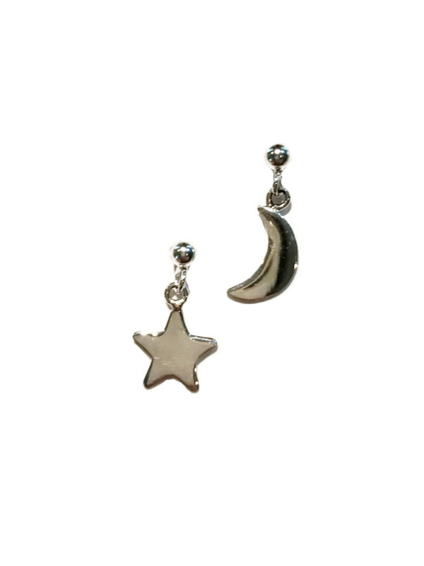 Star & Moon Mismatched Posts | Sterling Silver Earrings | Light Years