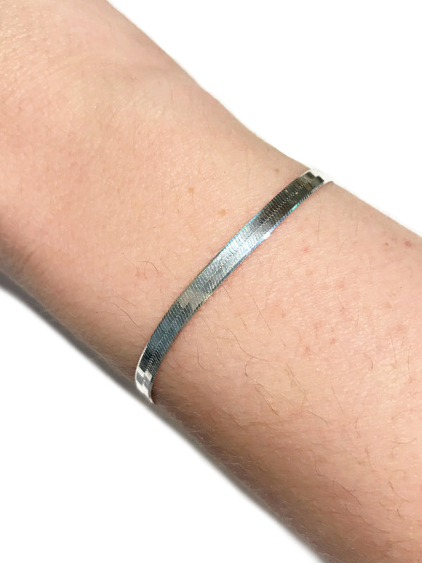 Herringbone Chain Bracelet | Sterling Silver 7"