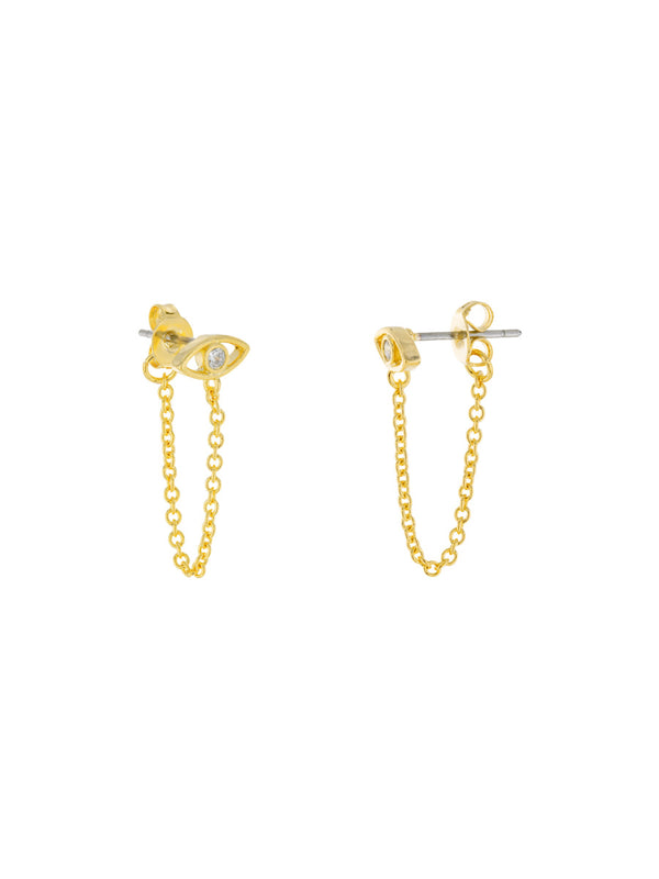 CZ Eye Chain Wrap Posts | Gold Plated Studs Earrings | Light Years