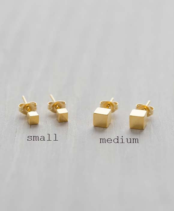 Cube Posts | Gold Plated Studs Earrings | Light Years Jewelry