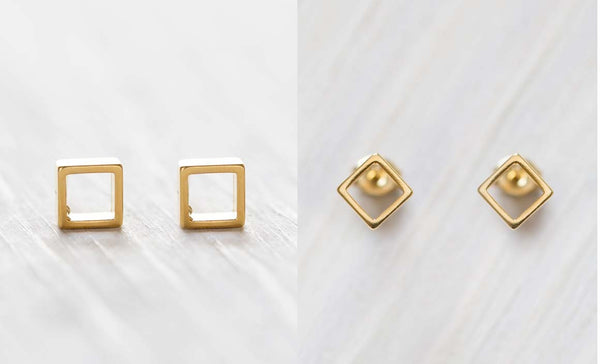 Mod Square Stud Earrings, $18 | Gold Posts | Light Years