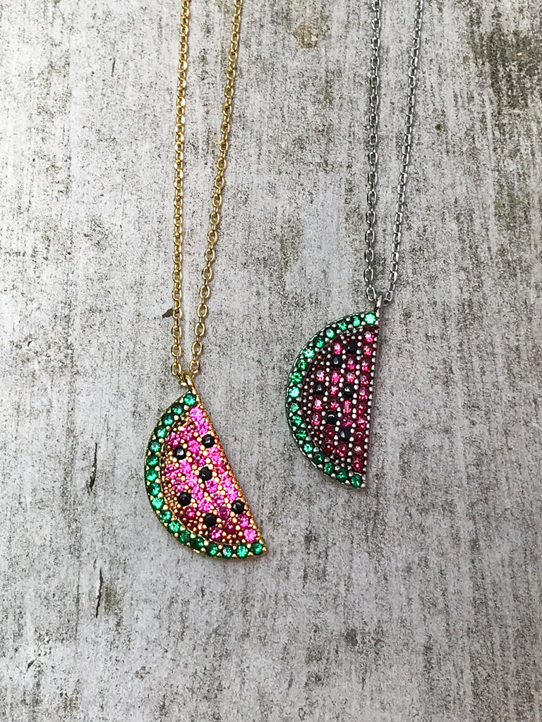 Watermelon Slice Fruit Necklace | Silver White Gold Chain | Light Years