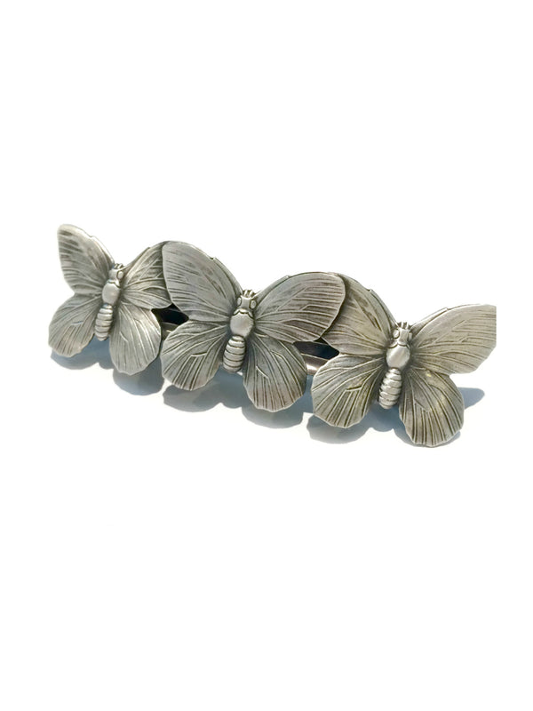 Butterfly Hair Barrette | French Brass Silver Accessory | Light Years