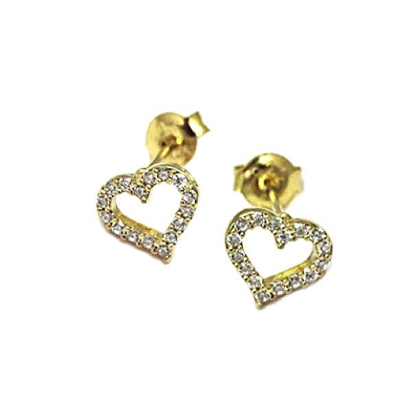 Open CZ Heart Posts, $14 | Gold Vermeil Stud Earrings | Light Years Jewelry