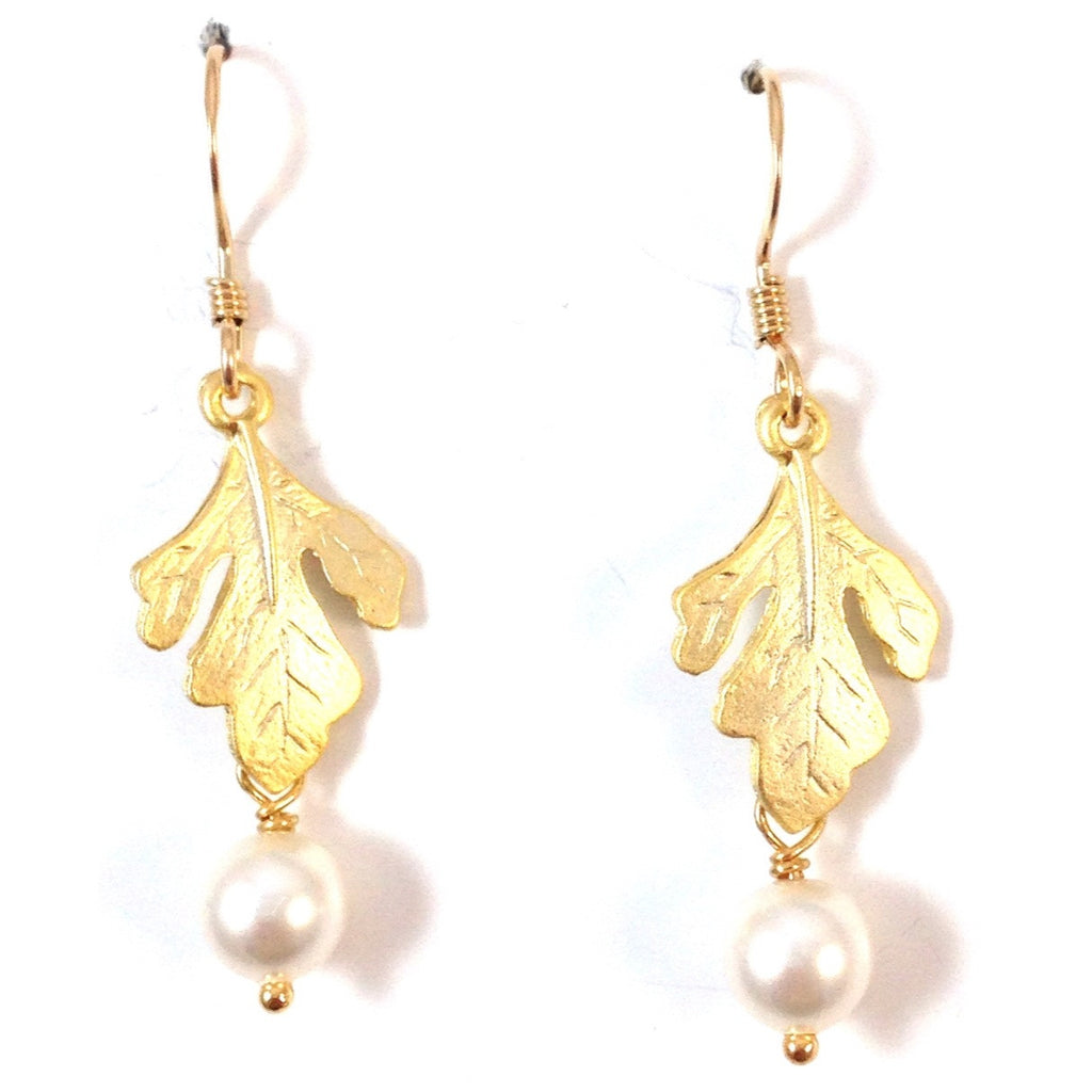 Oak Leaf And Pearl Earrings, $18 | 14kt Gold-Filled | Light Years Jewelry