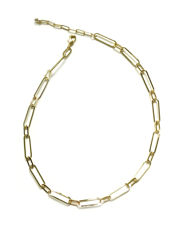 "Oval Linked Chain Necklace | 16"" 18"" Gold Plated Chain 