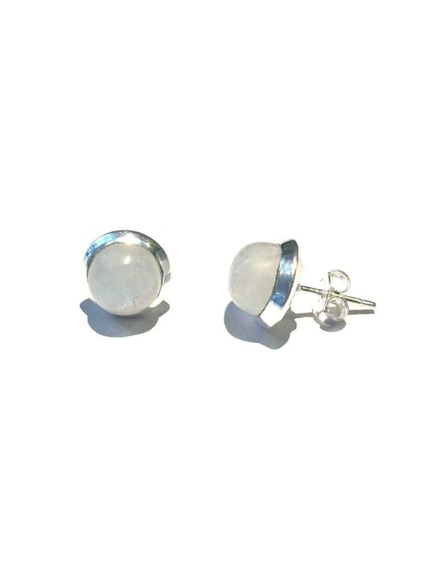Round Moonstone Posts | Sterling Silver Stud Earrings | Light Years
