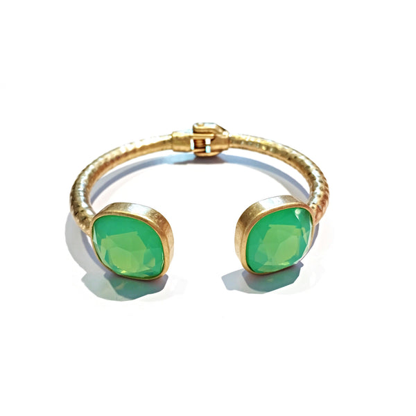 Hinged Fashion Cuff with Opalite, $14 | Green & Gold | Light Years Jewelry