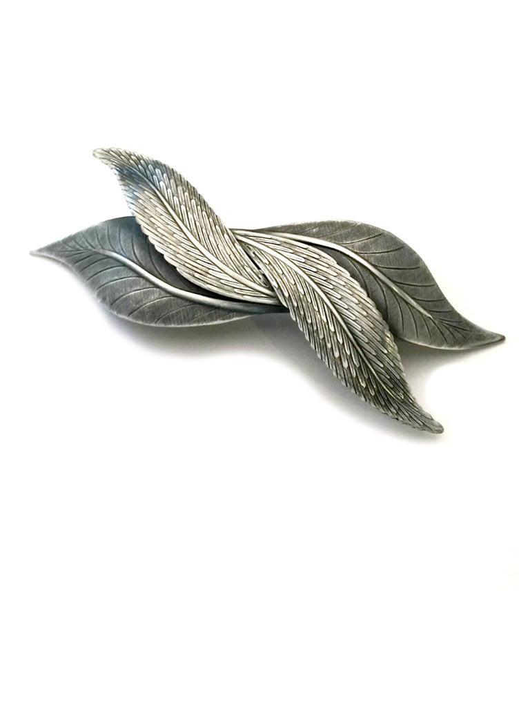 Double Leaves Barrette | Silver Brass Gold Hair Accessories | Light Years