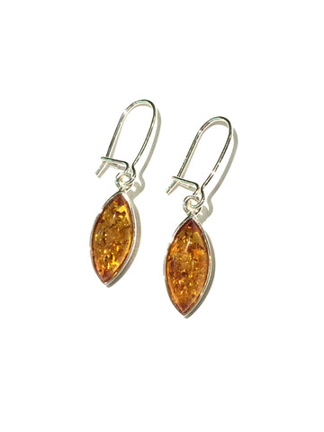 Amber Marquis Drops | Sterling Silver Earrings | Light Years Jewelry