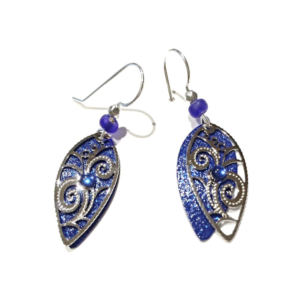 Royal Blue Pointed Leaf Filigree Earrings by Adajio, $19 | Light Years