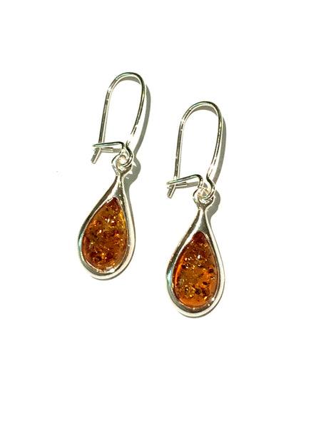 Honey Amber Teardrop Dangles | Sterling Silver Earrings | Light Years