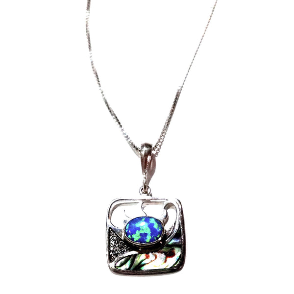Opal and Abalone Pendant