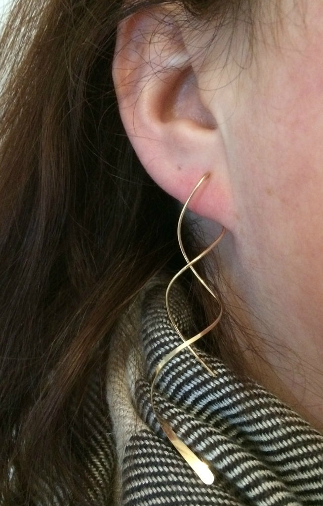 Long Twist Statement Earring | Sterling Silver Gold Filled | Light Years