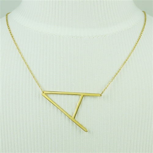 Large Sideways Initial Necklace A | Gold Plated Chain | Light Years