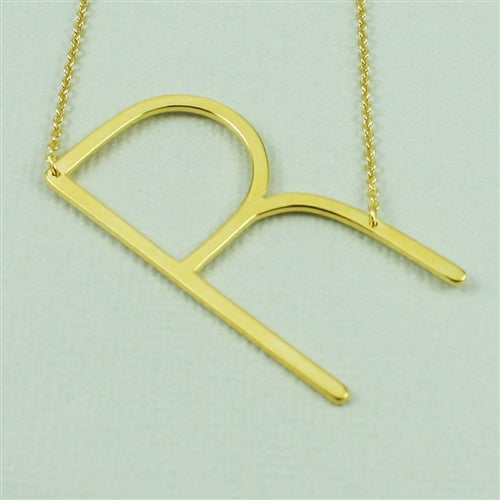 Large Sideways Initial Necklace R | Gold Plated Chain | Light Years
