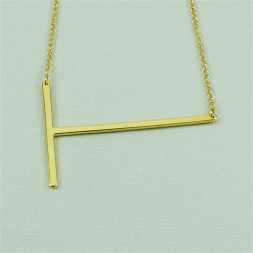 Large Sideways Initial Necklace T | Gold Plated Chain | Light Years
