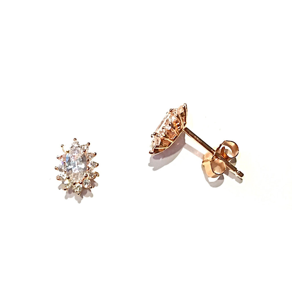 Rose Gold Oval CZ Posts with Border | Stud Earrings | Light Years Jewelry