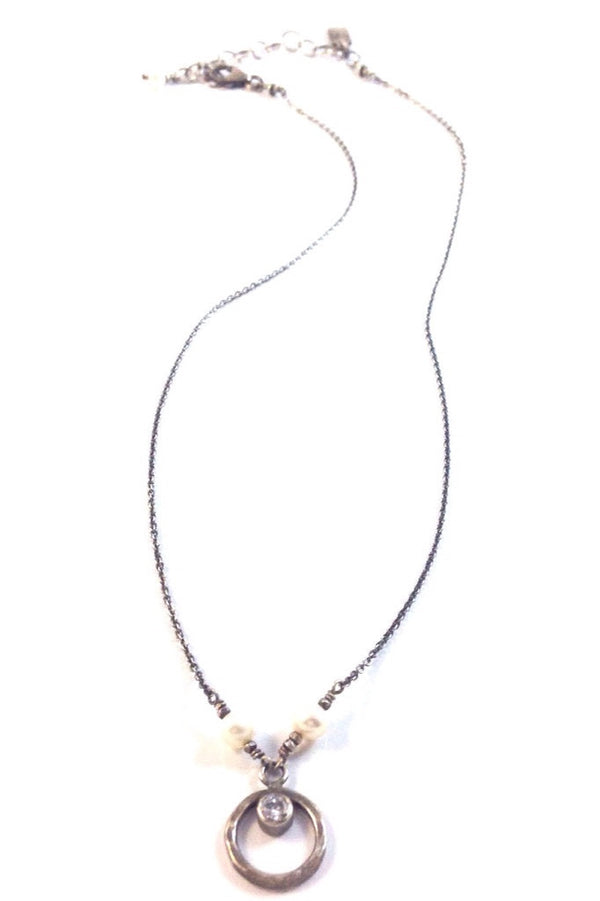 Pearl & CZ Circle Necklace | Sterling Silver Chain | Light Years Jewelry