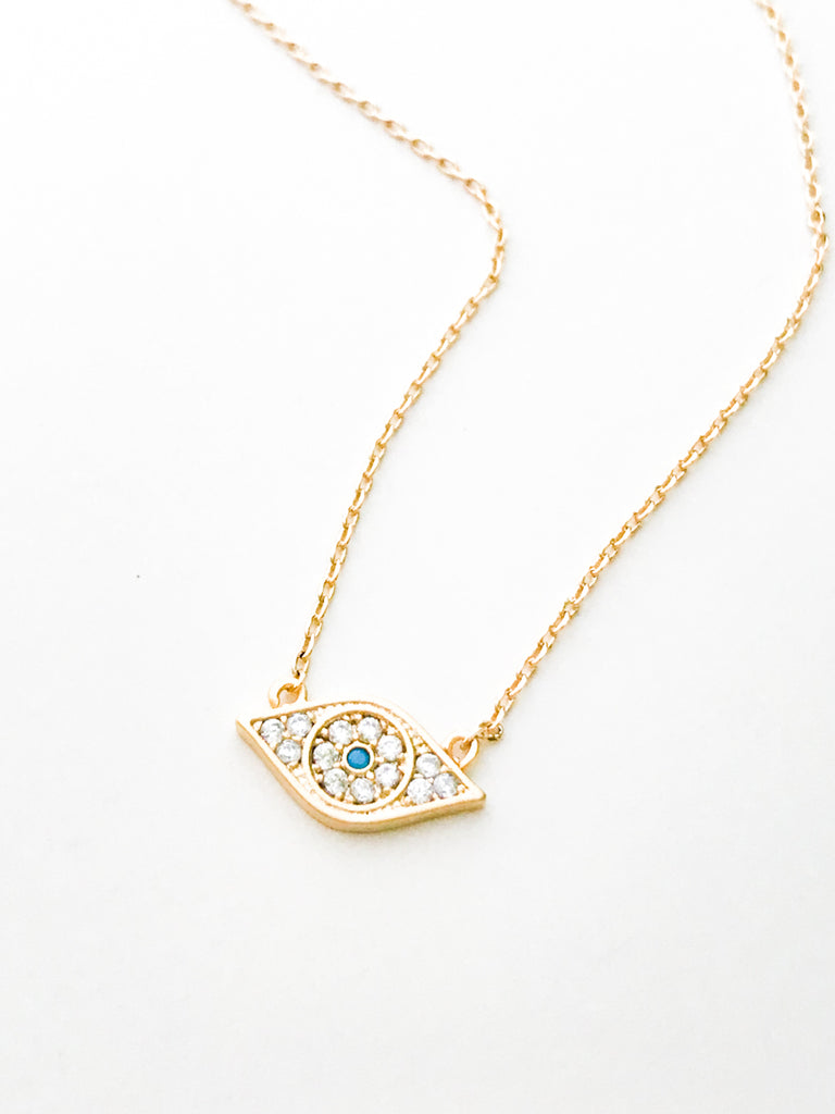 CZ Evil Eye Necklace | Gold Plated Chain | Light Years Jewelry