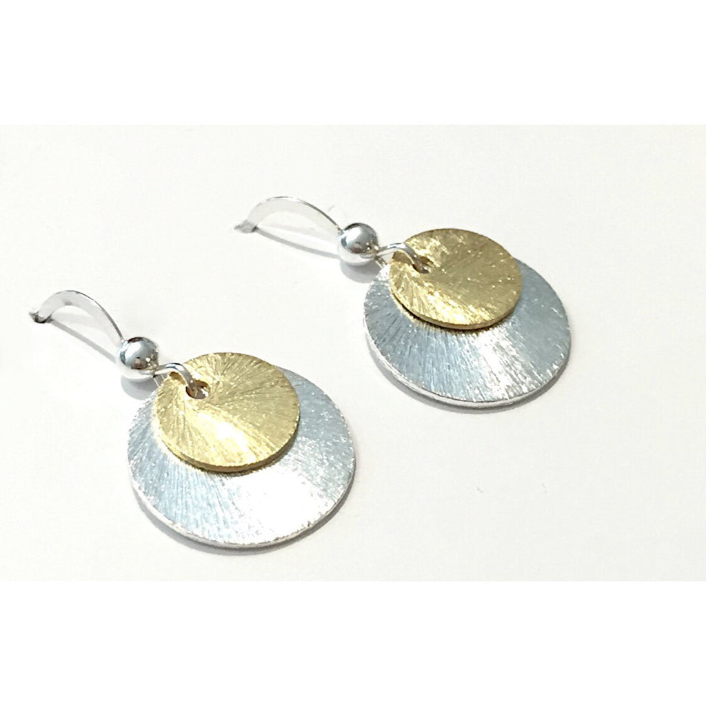 Brushed Two Tone Disc Earrings, $18 | Sterling Silver | Light Years