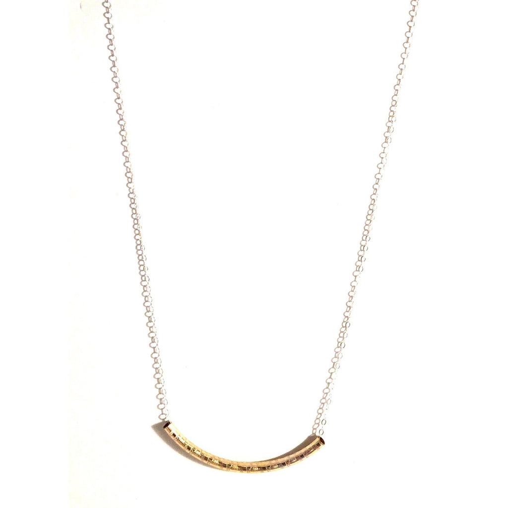 Curved Gold Tube On Silver Chain $34 | Sterling Necklace | Light Years