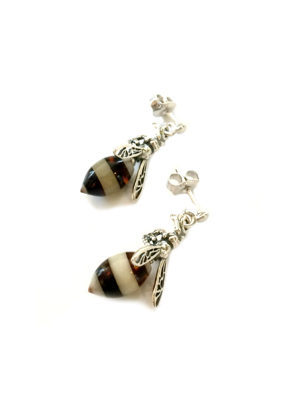 Amber Honeybee Posts | Sterling Silver Stud Earrings | Light Years