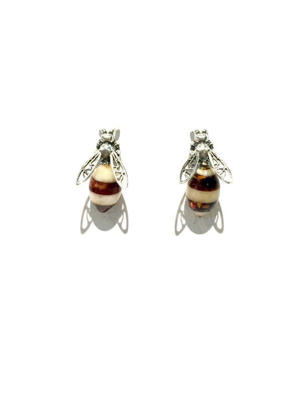 Amber Honeybee Posts | Sterling Silver Handmade Earrings | Light Years