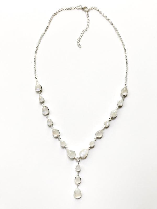Moonstone Drop Necklace | Sterling Silver Statement | Light Years