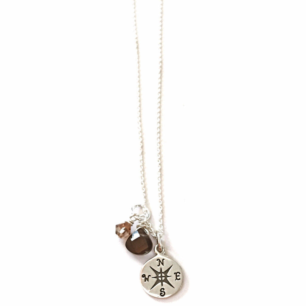 Compass and Stones Charm Necklace, $48 | Sterling Silver | Light Years Jewelry