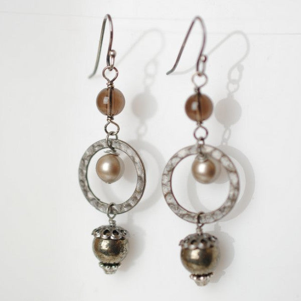 Pyrite, Pearl and Smokey Quartz Earrings, $22 | Handmade | Light Years
