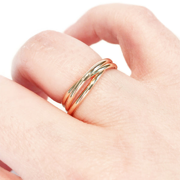 Triple Band Rolling Ring | 14kt Gold Filled Size 6 7 8 9 10 | Light Years