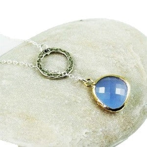Into the Circle Glass Stone Necklace, $38 | Blue and Sterling Silver | Light Years Jewelry